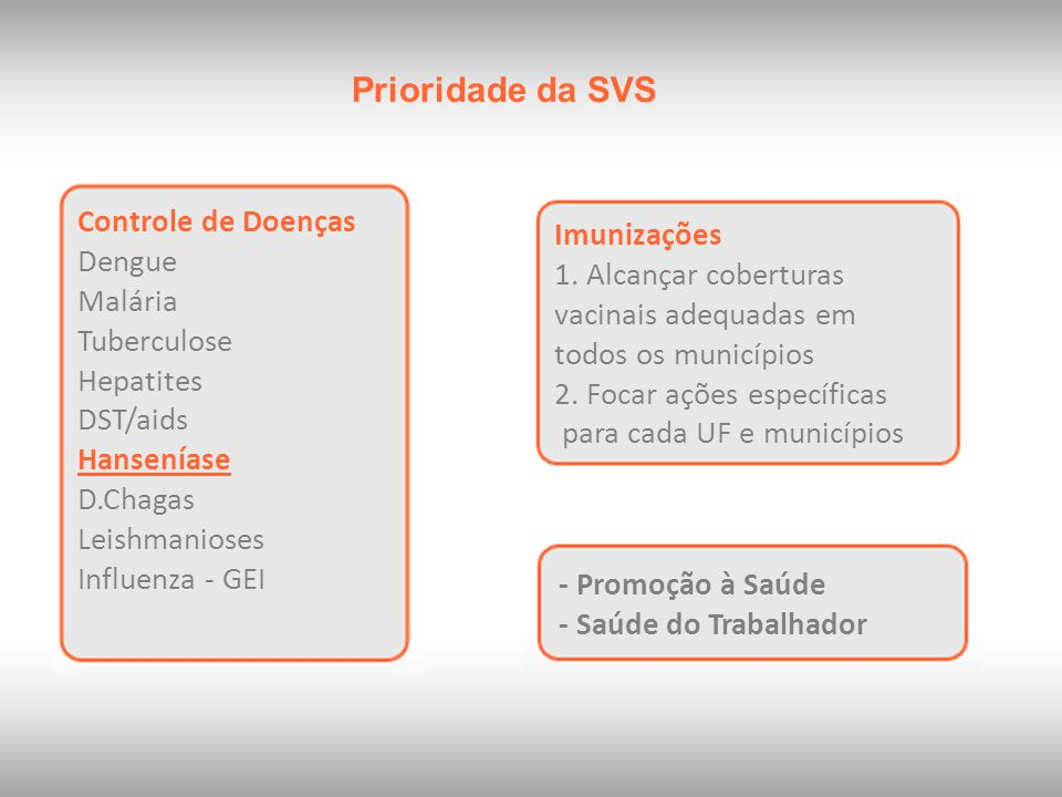 Prioridade da SVS Controle de Doenças Imunizações Dengue