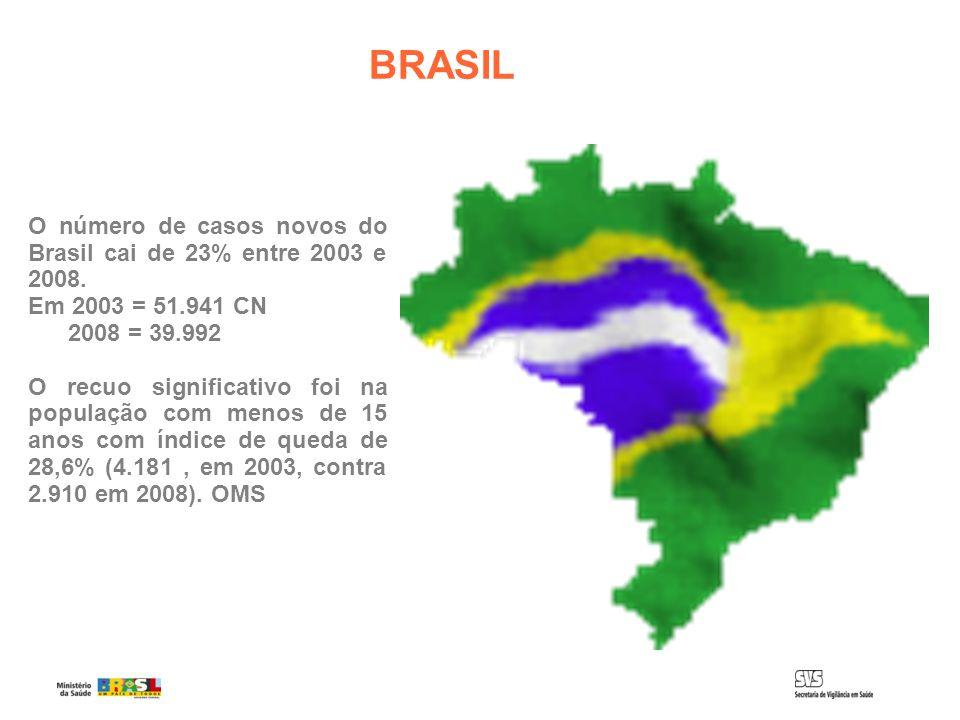BRASIL O número de casos novos do Brasil cai de 23% entre 2003 e 2008.