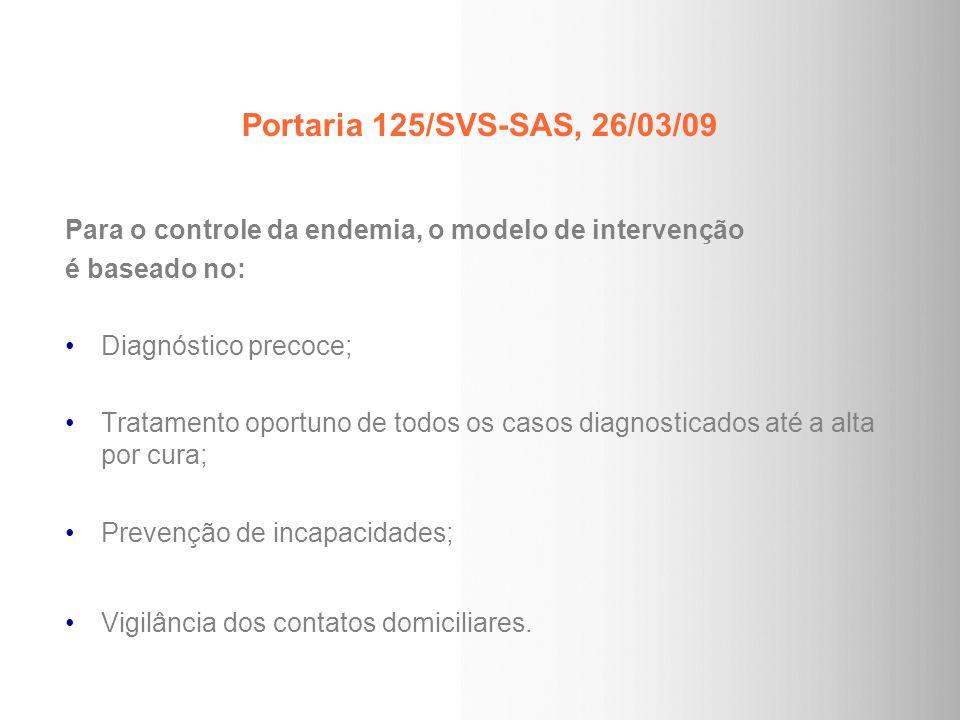 Portaria 125/SVS-SAS, 26/03/09 Para o controle da endemia, o modelo de intervenção. é baseado no: Diagnóstico precoce;