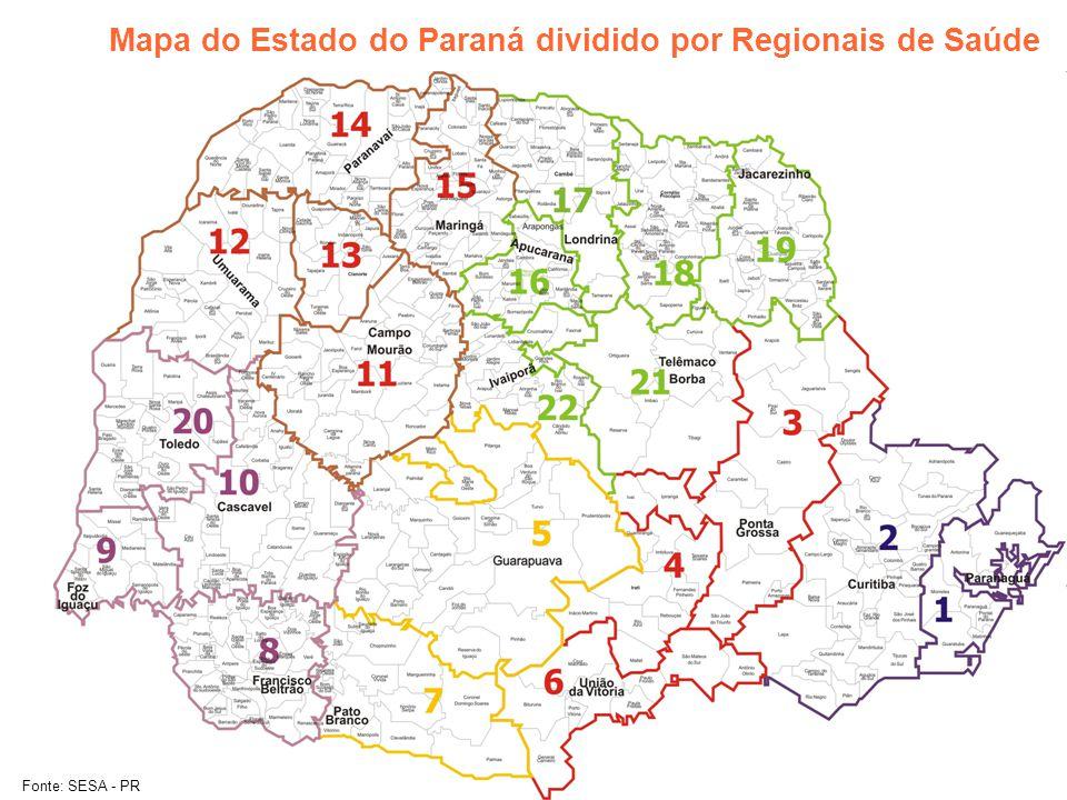 Mapa do Estado do Paraná dividido por Regionais de Saúde