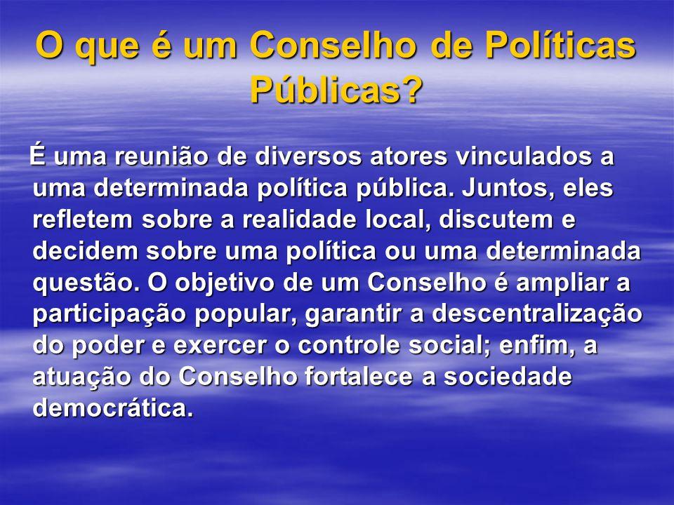 O que é um Conselho de Políticas Públicas