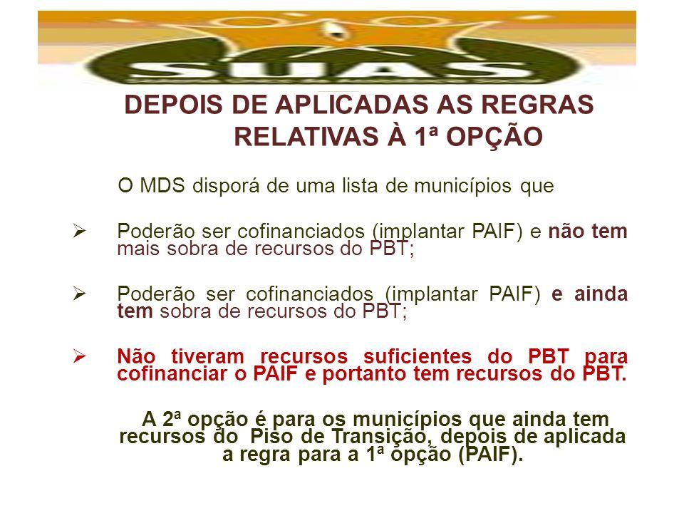 DEPOIS DE APLICADAS AS REGRAS RELATIVAS À 1ª OPÇÃO
