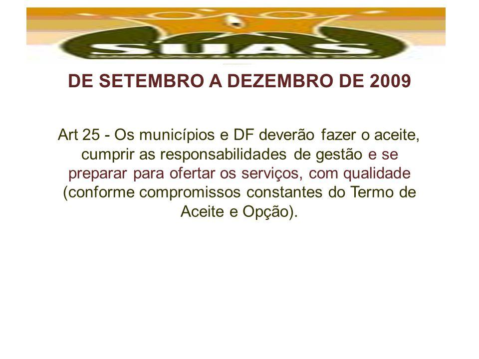 DE SETEMBRO A DEZEMBRO DE 2009