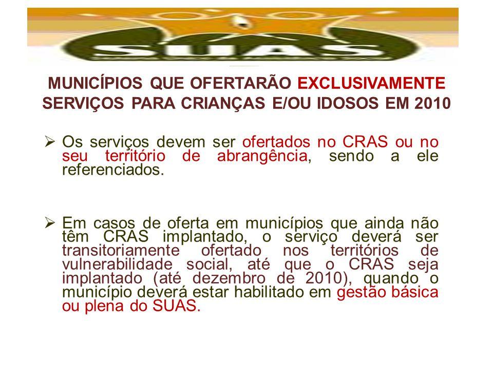 MUNICÍPIOS QUE OFERTARÃO EXCLUSIVAMENTE SERVIÇOS PARA CRIANÇAS E/OU IDOSOS EM 2010