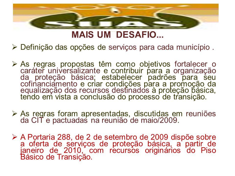 MAIS UM DESAFIO... Definição das opções de serviços para cada município .