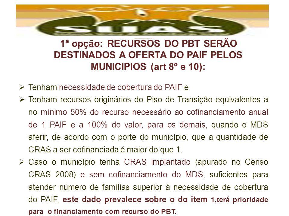 1ª opção: RECURSOS DO PBT SERÃO DESTINADOS A OFERTA DO PAIF PELOS MUNICIPIOS (art 8º e 10):