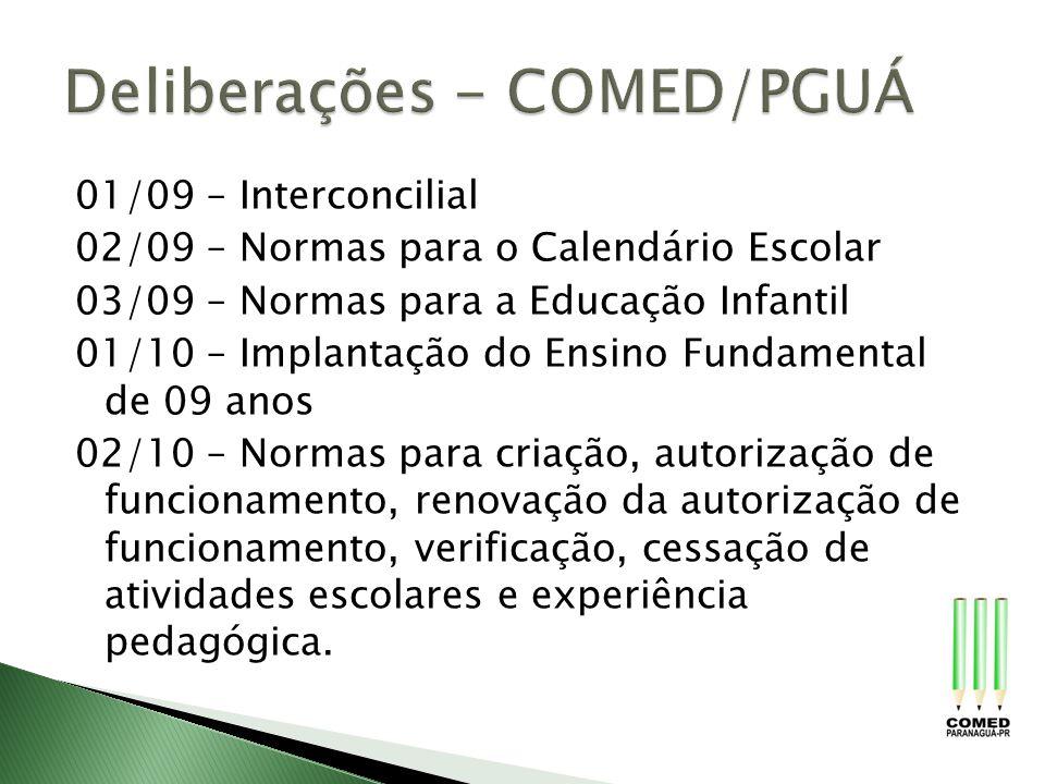 Deliberações - COMED/PGUÁ