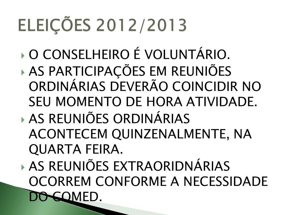ELEIÇÕES 2012/2013 O CONSELHEIRO É VOLUNTÁRIO.