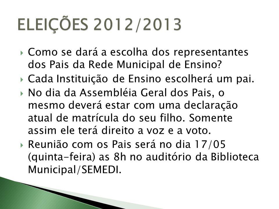 ELEIÇÕES 2012/2013 Como se dará a escolha dos representantes dos Pais da Rede Municipal de Ensino