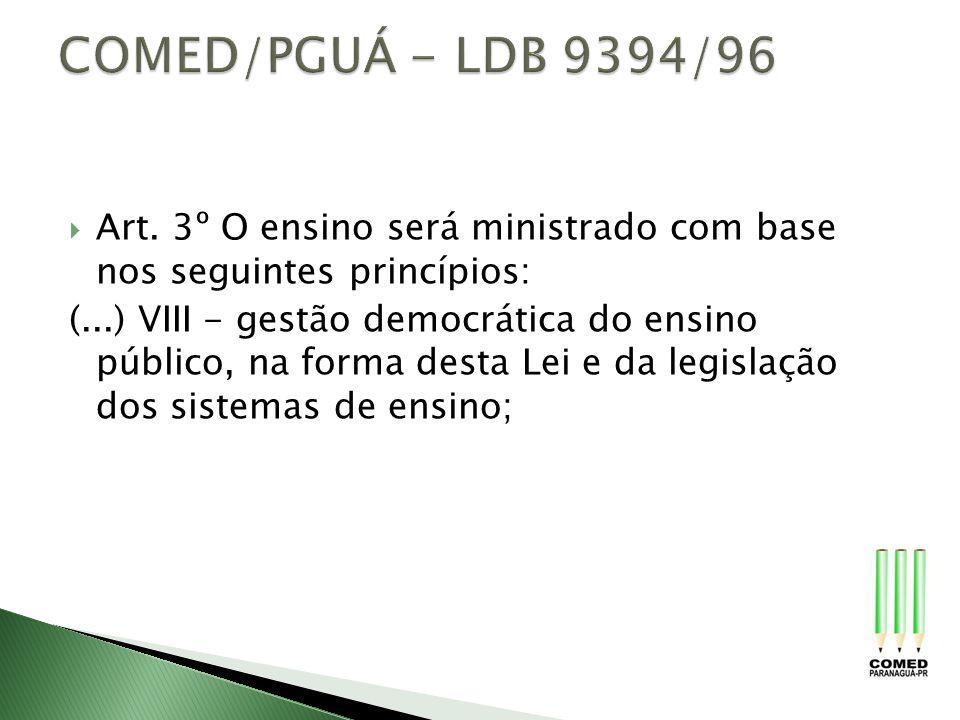 COMED/PGUÁ - LDB 9394/96 Art. 3º O ensino será ministrado com base nos seguintes princípios: