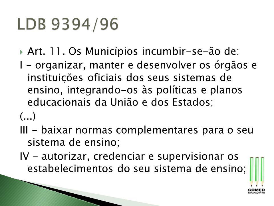 LDB 9394/96 Art. 11. Os Municípios incumbir-se-ão de:
