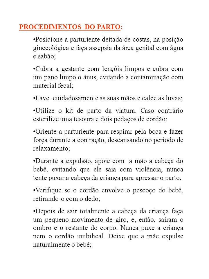 PROCEDIMENTOS DO PARTO: