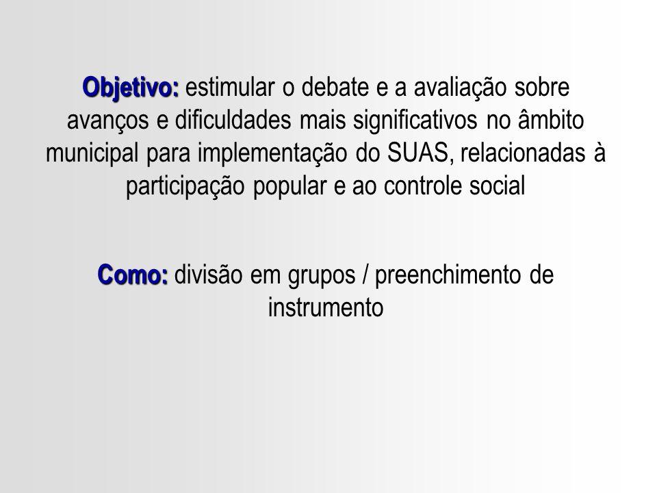 Como: divisão em grupos / preenchimento de instrumento