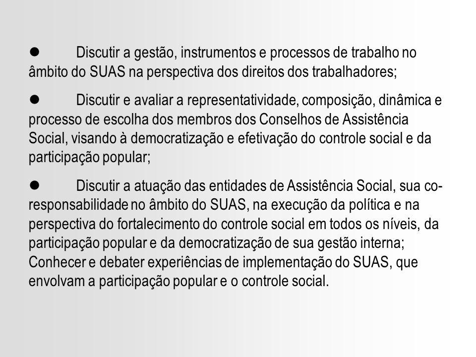 l Discutir a gestão, instrumentos e processos de trabalho no âmbito do SUAS na perspectiva dos direitos dos trabalhadores;