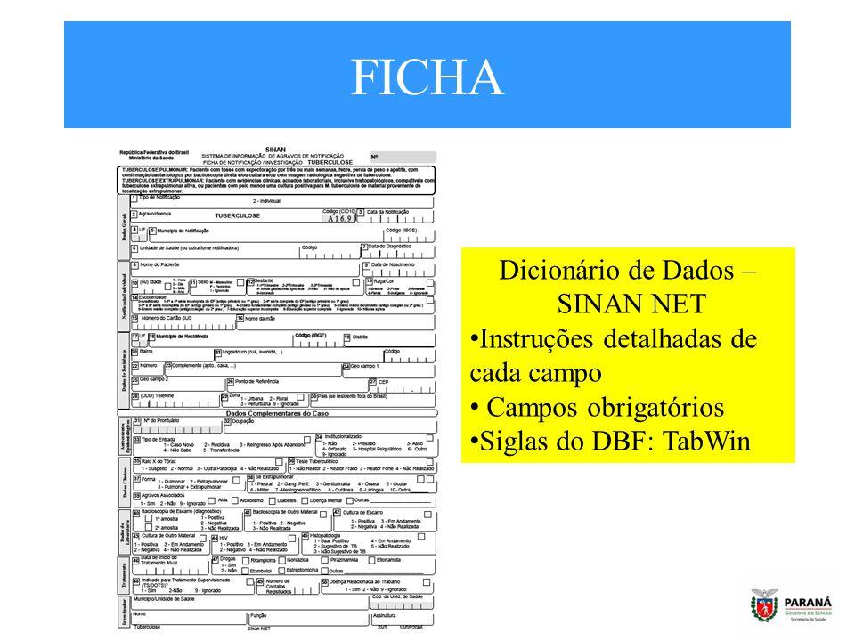 FICHA Dicionário de Dados – SINAN NET