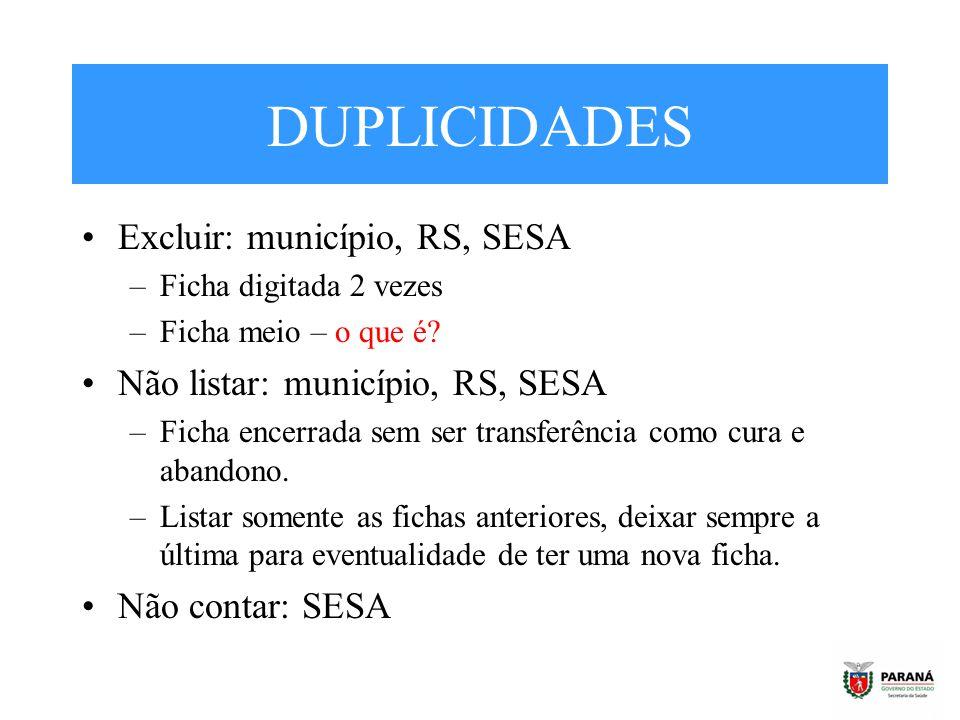 DUPLICIDADES Excluir: município, RS, SESA