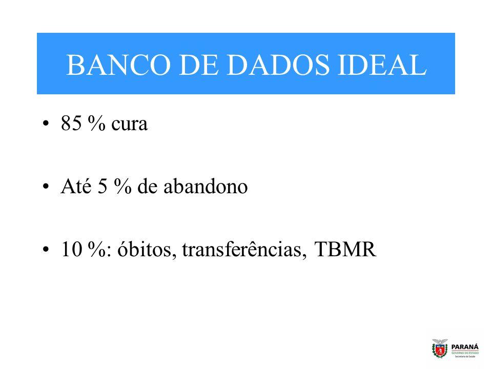 BANCO DE DADOS IDEAL 85 % cura Até 5 % de abandono