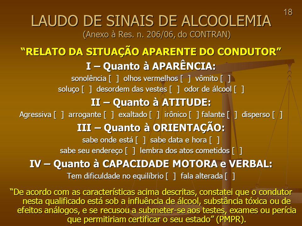 LAUDO DE SINAIS DE ALCOOLEMIA (Anexo à Res. n. 206/06, do CONTRAN)
