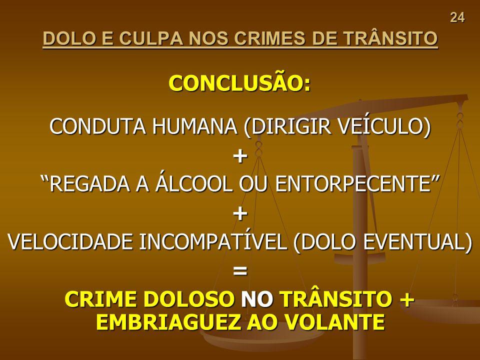 DOLO E CULPA NOS CRIMES DE TRÂNSITO CRIME DOLOSO NO TRÂNSITO +
