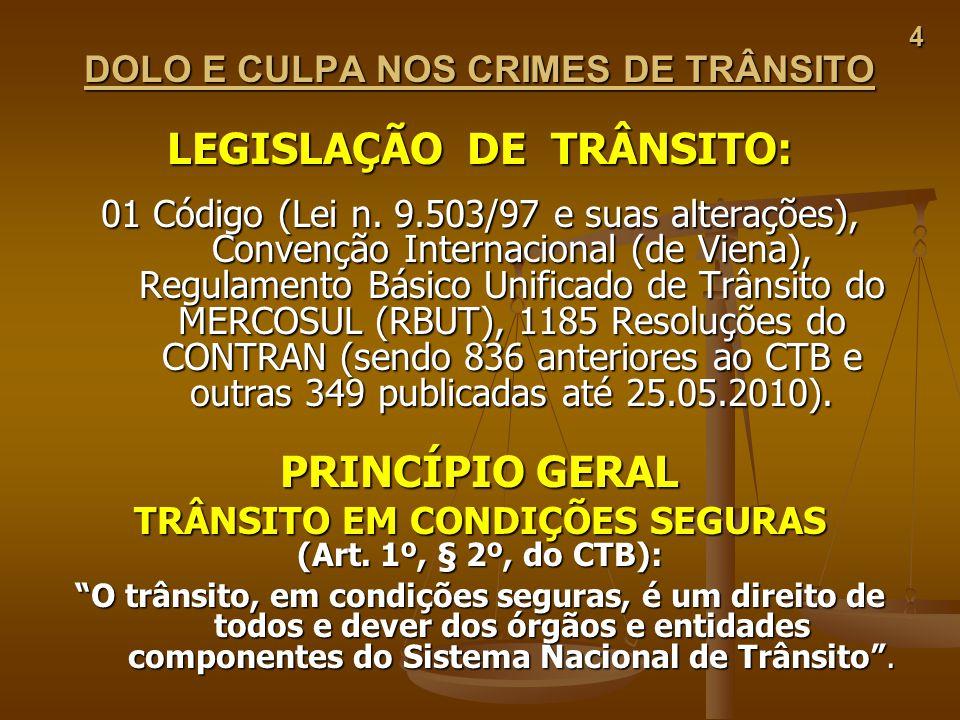 LEGISLAÇÃO DE TRÂNSITO: PRINCÍPIO GERAL