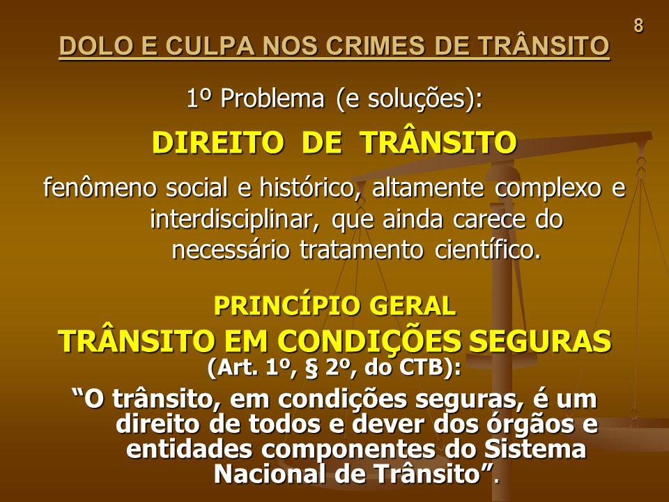 DOLO E CULPA NOS CRIMES DE TRÂNSITO TRÂNSITO EM CONDIÇÕES SEGURAS