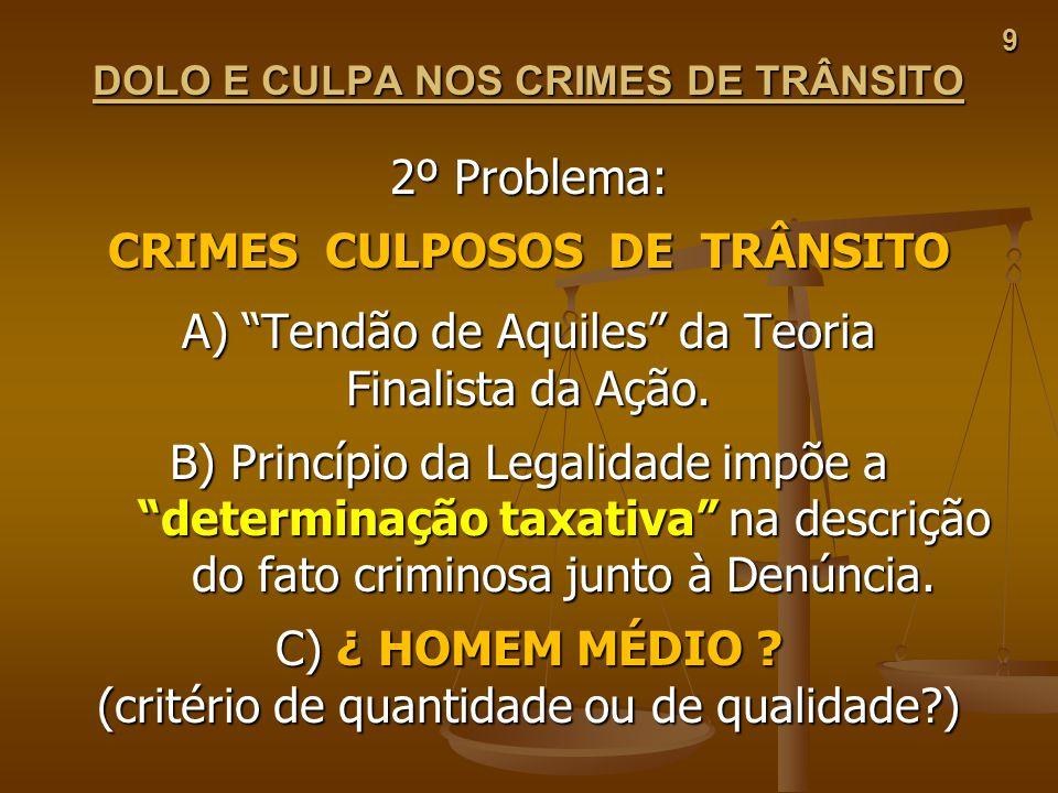 DOLO E CULPA NOS CRIMES DE TRÂNSITO CRIMES CULPOSOS DE TRÂNSITO