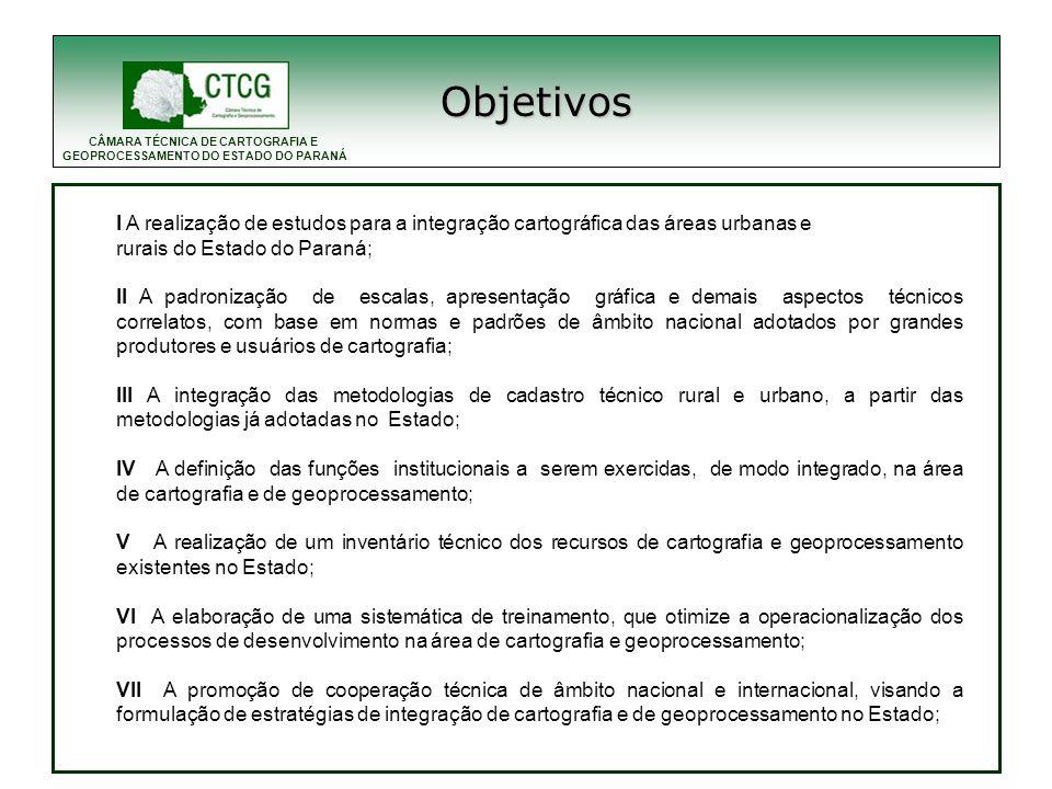 Objetivos I A realização de estudos para a integração cartográfica das áreas urbanas e. rurais do Estado do Paraná;