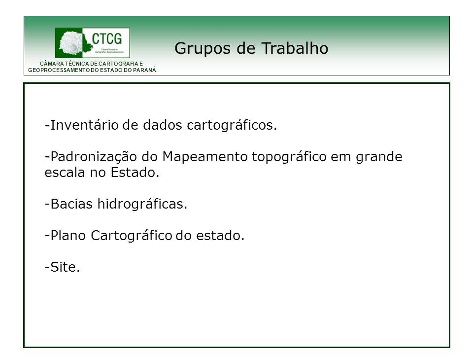 Grupos de Trabalho -Inventário de dados cartográficos.