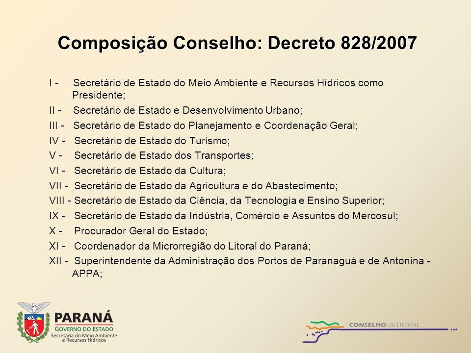 Composição Conselho: Decreto 828/2007