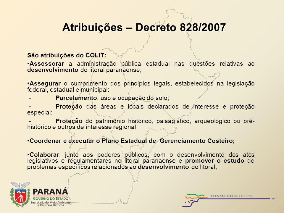 Atribuições – Decreto 828/2007
