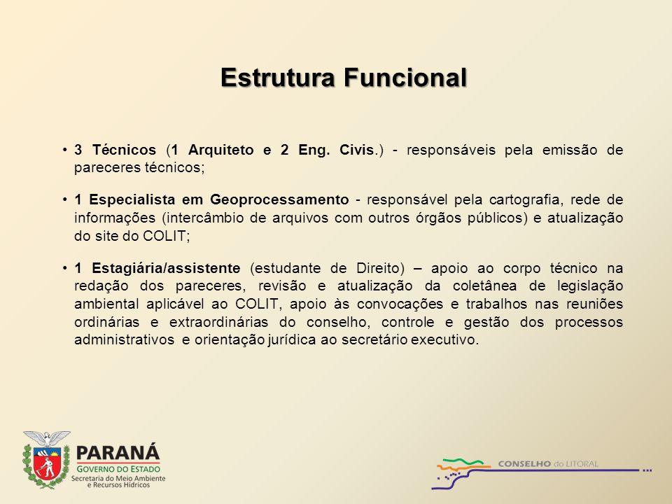 Estrutura Funcional 3 Técnicos (1 Arquiteto e 2 Eng. Civis.) - responsáveis pela emissão de pareceres técnicos;