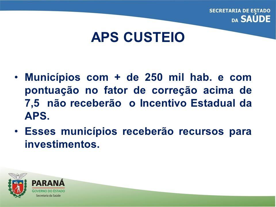 APS CUSTEIO Municípios com + de 250 mil hab. e com pontuação no fator de correção acima de 7,5 não receberão o Incentivo Estadual da APS.
