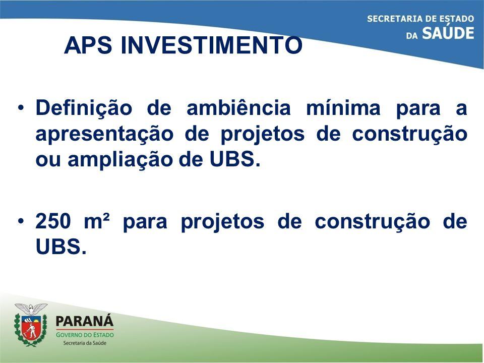 APS INVESTIMENTO Definição de ambiência mínima para a apresentação de projetos de construção ou ampliação de UBS.