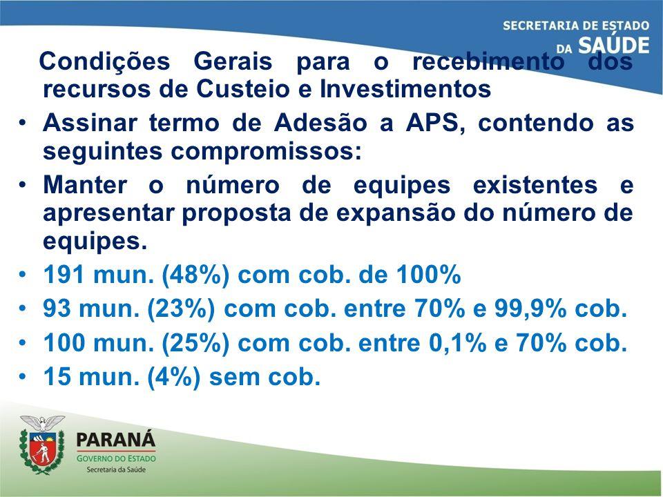 Condições Gerais para o recebimento dos recursos de Custeio e Investimentos