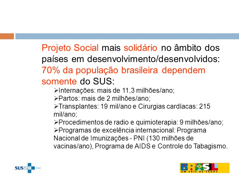 Projeto Social mais solidário no âmbito dos países em desenvolvimento/desenvolvidos: 70% da população brasileira dependem somente do SUS: