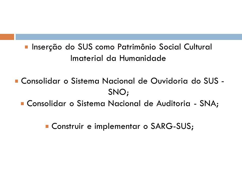 ■ Inserção do SUS como Patrimônio Social Cultural Imaterial da Humanidade ■ Consolidar o Sistema Nacional de Ouvidoria do SUS - SNO; ■ Consolidar o Sistema Nacional de Auditoria - SNA; ■ Construir e implementar o SARG-SUS;
