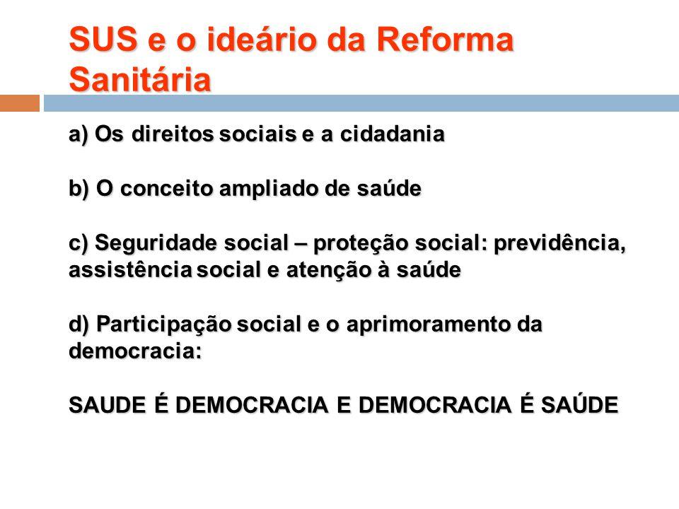 SUS e o ideário da Reforma Sanitária a) Os direitos sociais e a cidadania b) O conceito ampliado de saúde c) Seguridade social – proteção social: previdência, assistência social e atenção à saúde d) Participação social e o aprimoramento da democracia:
