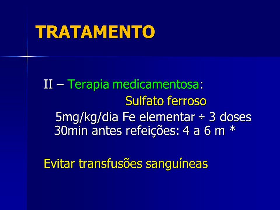 TRATAMENTO II – Terapia medicamentosa: Sulfato ferroso