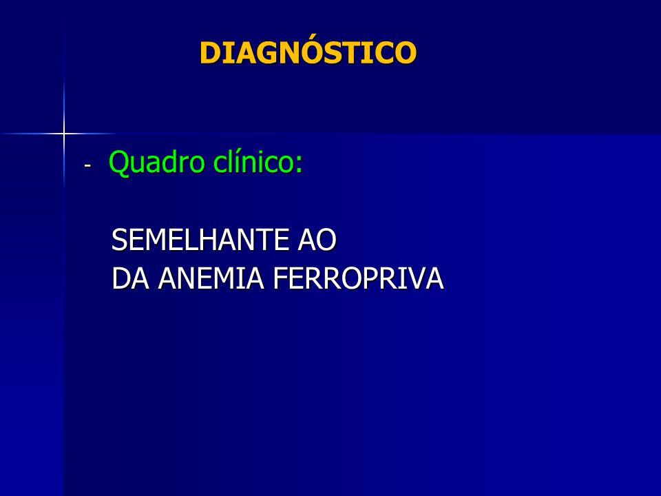 DIAGNÓSTICO Quadro clínico: SEMELHANTE AO DA ANEMIA FERROPRIVA