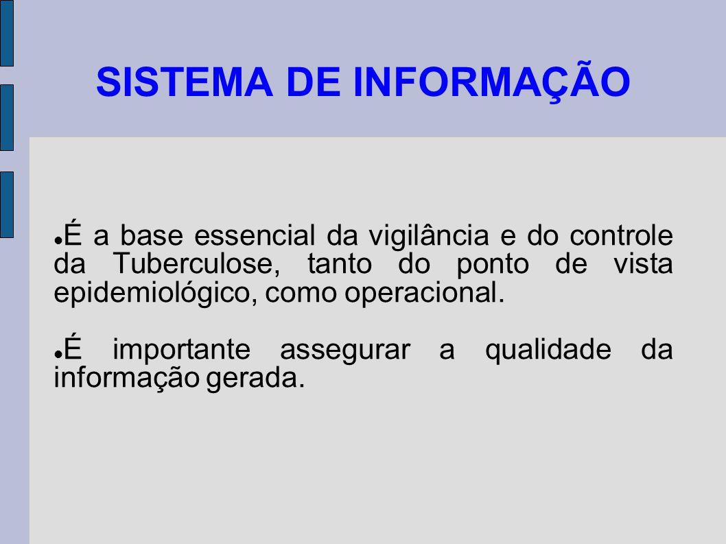 SISTEMA DE INFORMAÇÃO É a base essencial da vigilância e do controle da Tuberculose, tanto do ponto de vista epidemiológico, como operacional.