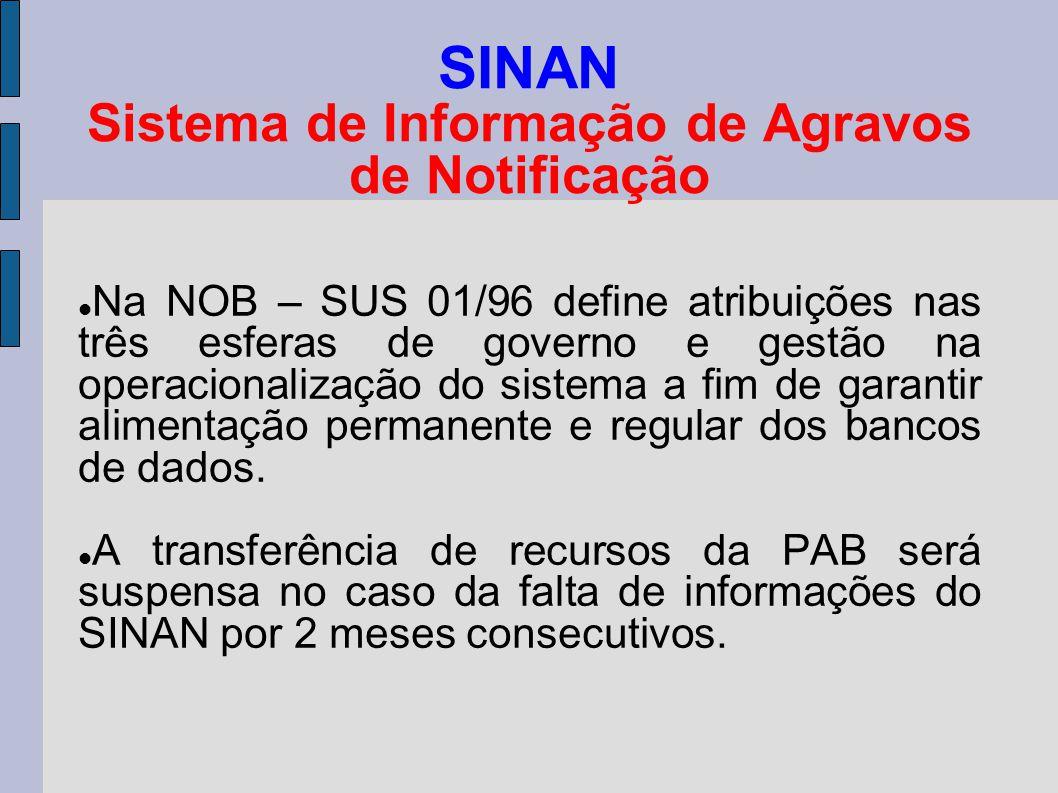 SINAN Sistema de Informação de Agravos de Notificação