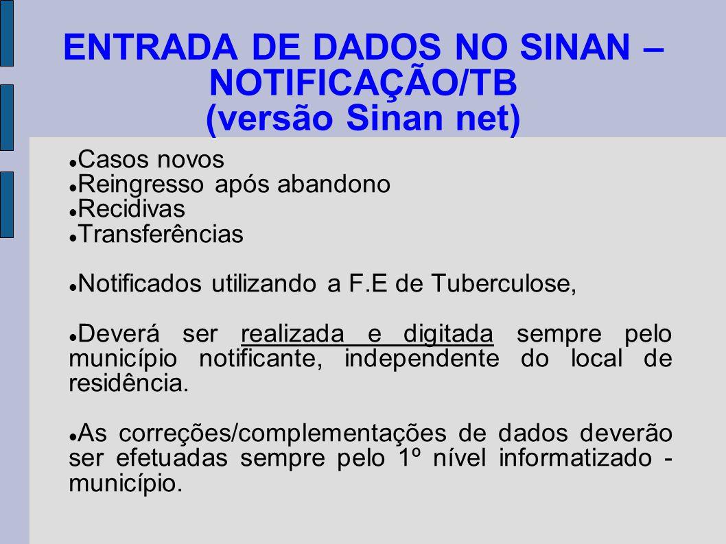 ENTRADA DE DADOS NO SINAN – NOTIFICAÇÃO/TB (versão Sinan net)