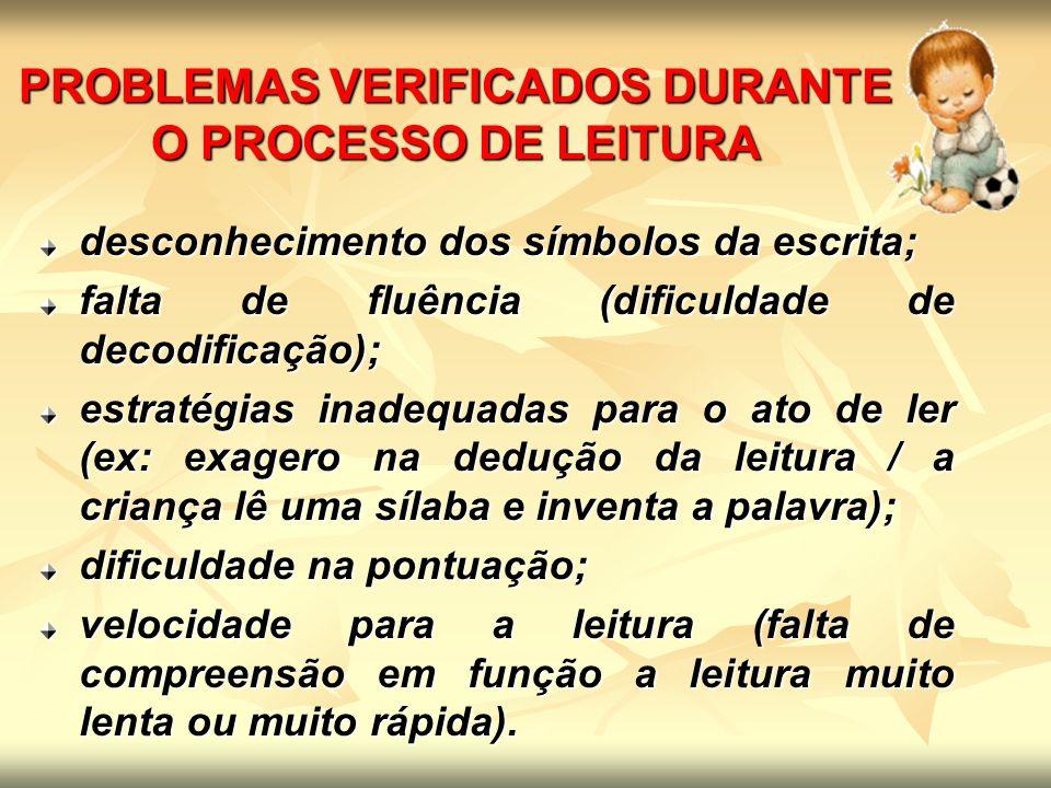PROBLEMAS VERIFICADOS DURANTE O PROCESSO DE LEITURA