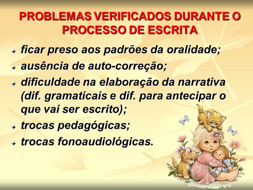 PROBLEMAS VERIFICADOS DURANTE O PROCESSO DE ESCRITA