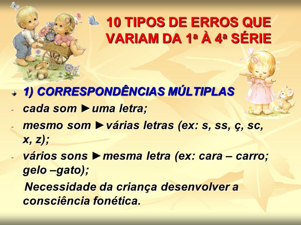 10 TIPOS DE ERROS QUE VARIAM DA 1a À 4a SÉRIE