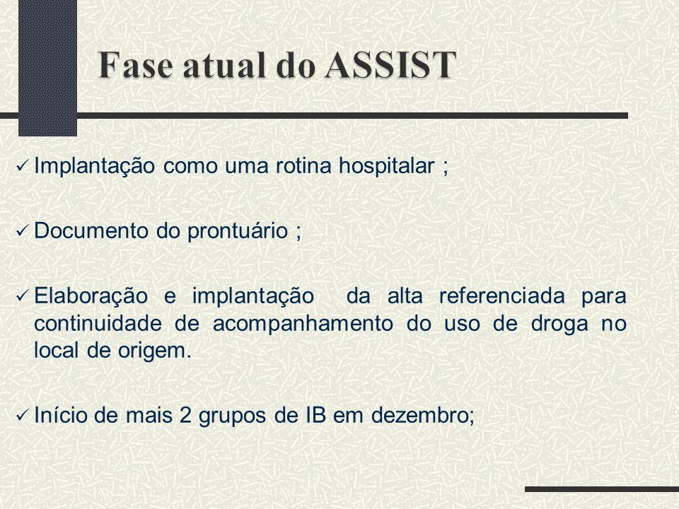 Fase atual do ASSIST Implantação como uma rotina hospitalar ;