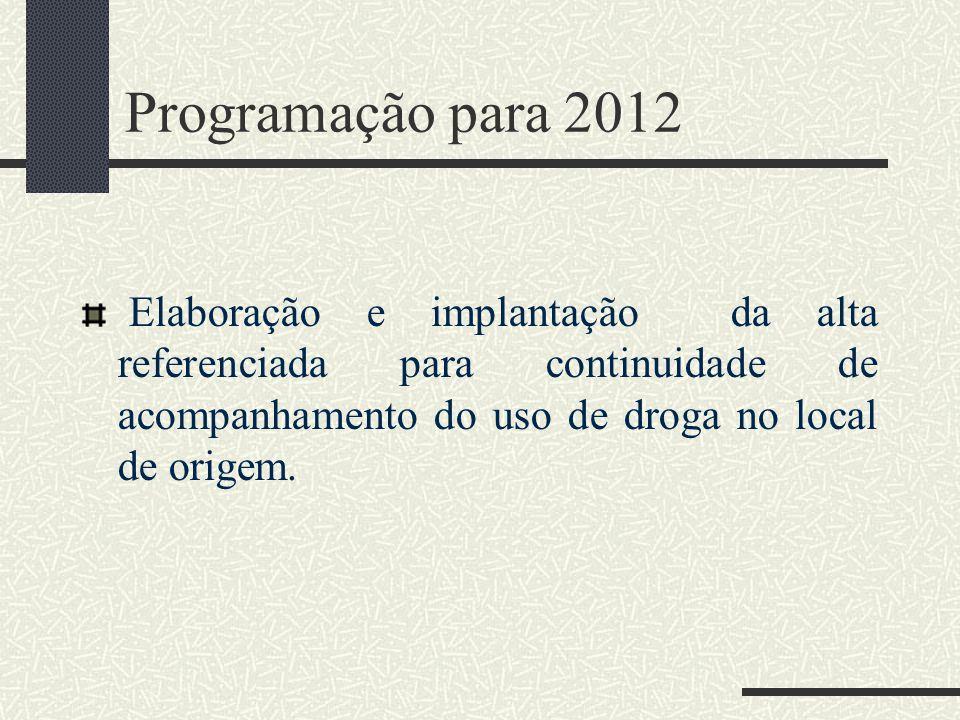 Programação para 2012 Elaboração e implantação da alta referenciada para continuidade de acompanhamento do uso de droga no local de origem.