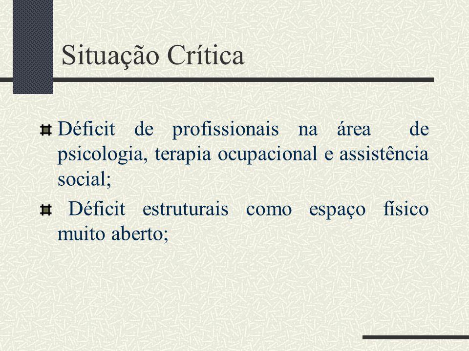 Situação Crítica Déficit de profissionais na área de psicologia, terapia ocupacional e assistência social;