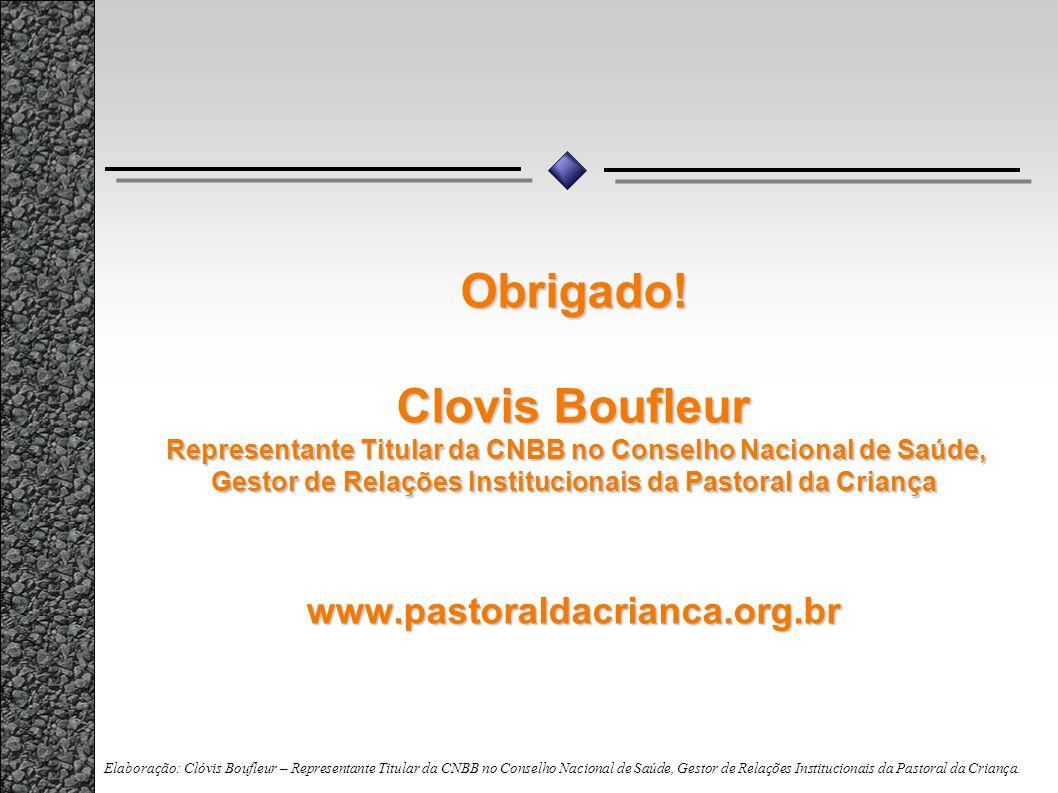Obrigado! Clovis Boufleur Representante Titular da CNBB no Conselho Nacional de Saúde, Gestor de Relações Institucionais da Pastoral da Criança www.pastoraldacrianca.org.br