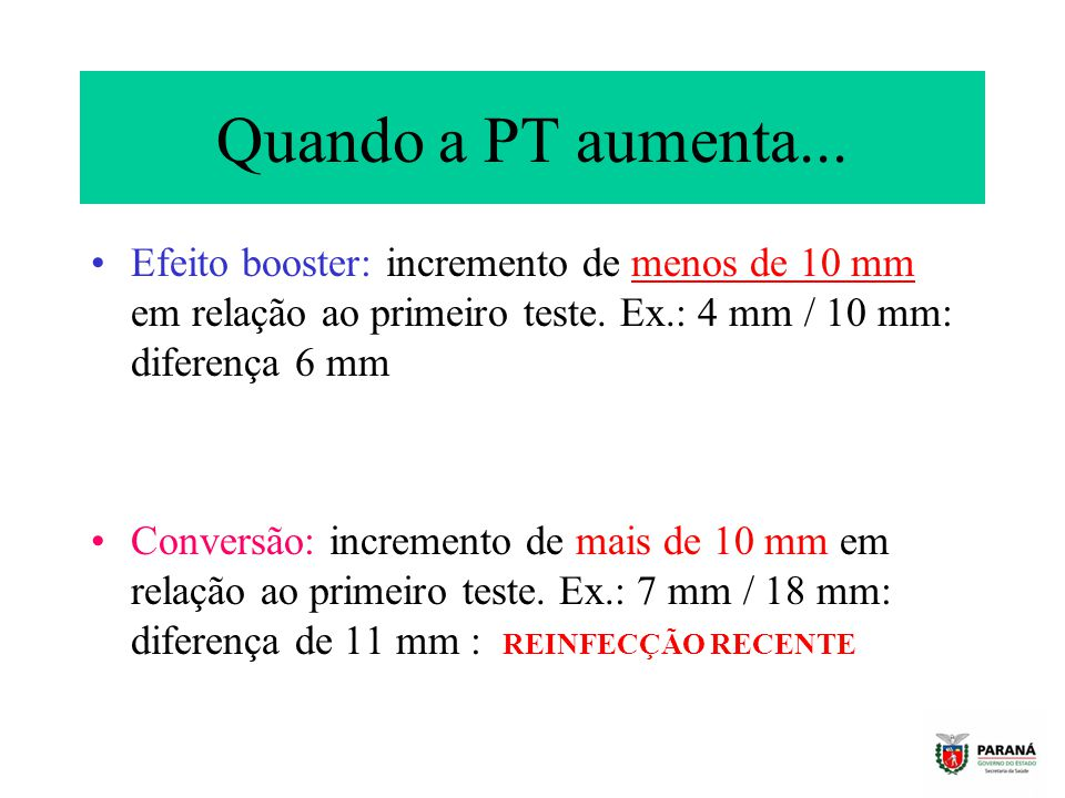 Quando a PT aumenta... Efeito booster: incremento de menos de 10 mm em relação ao primeiro teste. Ex.: 4 mm / 10 mm: diferença 6 mm.